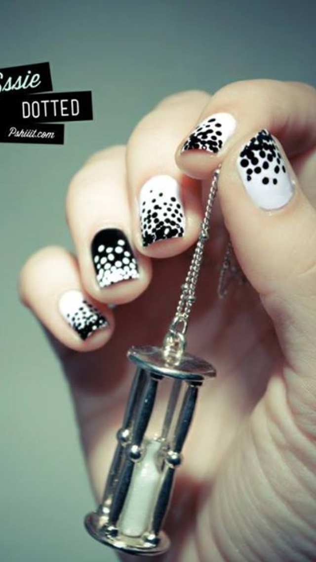 Black And White Polka Dot Nail Art Peachys Mode